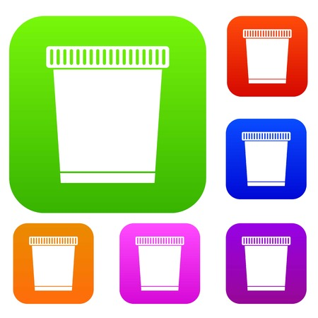 refuse: Trash can set icon in different colors isolated vector illustration. Premium collection