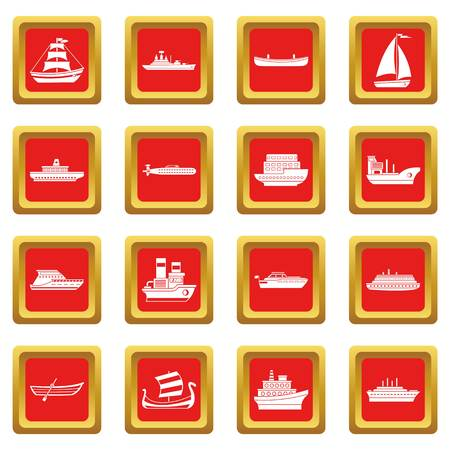 Sea transport icons set red
