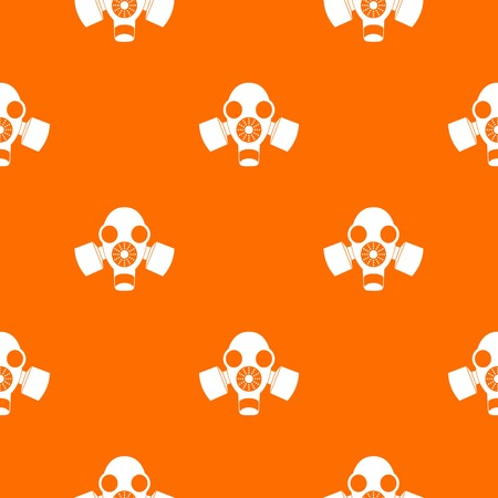 survive: Black gas mask pattern repeat seamless in orange color for any design. Vector geometric illustration Illustration