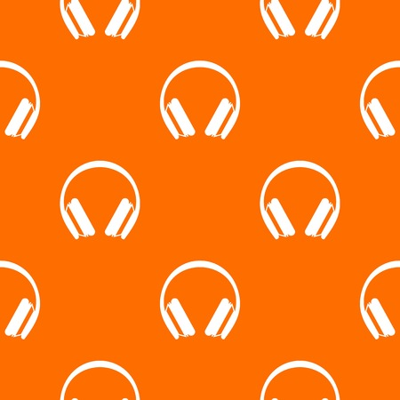 Protective headphones pattern repeat seamless in orange color for any design. Vector geometric illustration Illustration