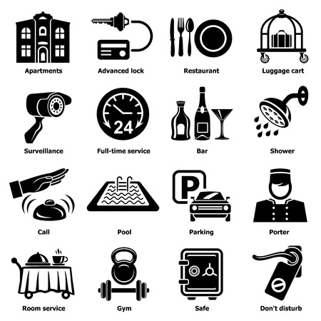 Hotel service icons set. Simple illustration of 16 hotel service vector icons for web