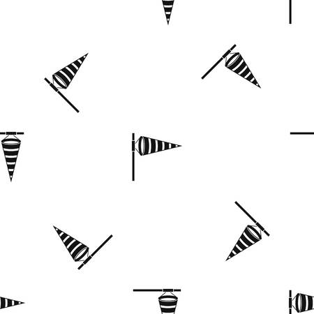 Meteorology windsock inflated by wind pattern repeat seamless in black color for any design. Vector geometric illustration