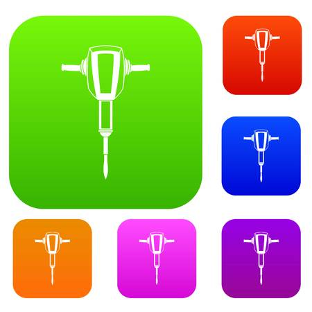 jack tar: Pneumatic plugger hammer set icon in different colors isolated vector illustration. Premium collection