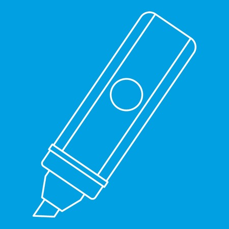 Marker icon blue outline style isolated vector illustration. Thin line sign