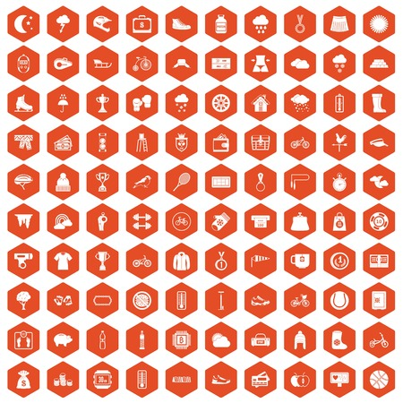 case: 100 woman sport icons set in orange hexagon isolated vector illustration