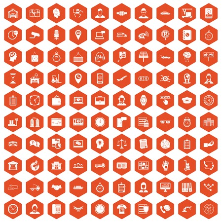 100 working hours icons set in orange hexagon isolated vector illustration