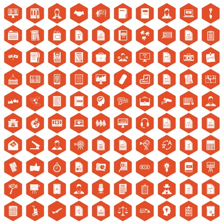 100 work paper icons set in orange hexagon isolated vector illustration