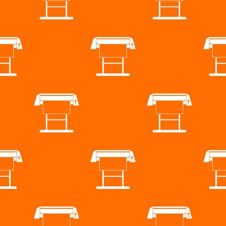 plotting: Large format inkjet printer pattern repeat seamless in orange color for any design. Vector geometric illustration