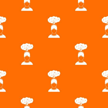 Man with red cloud over head pattern repeat seamless in orange color for any design. Vector geometric illustration