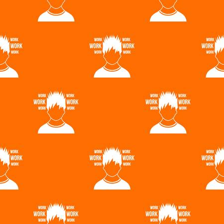 Man and work words pattern repeat seamless in orange color for any design. Vector geometric illustration