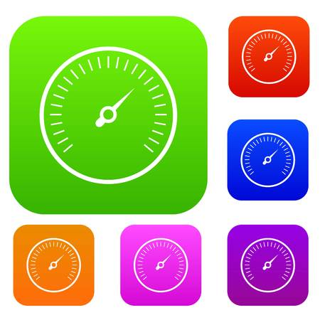 Speedometer set icon in different colors isolated vector illustration. Premium collection
