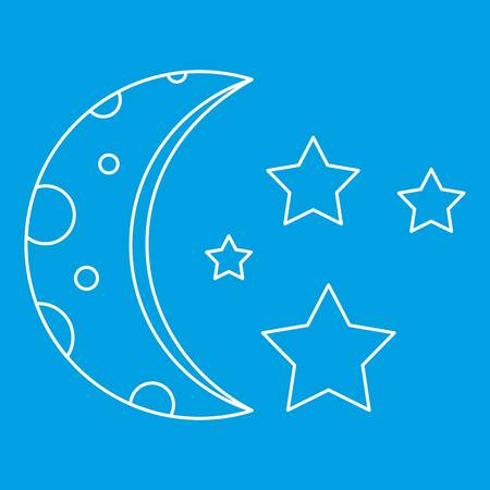 Moon and stars icon, outline style Illustration
