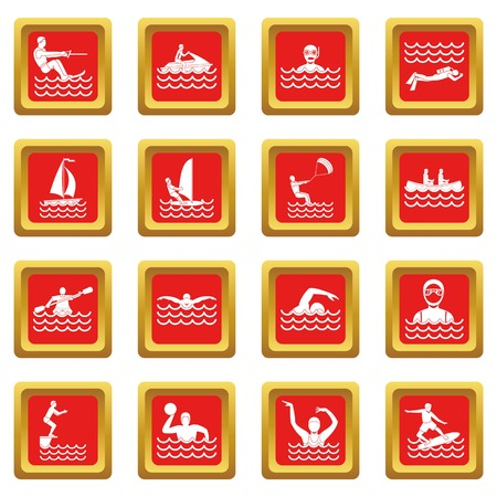 Water sport icons set red Illustration