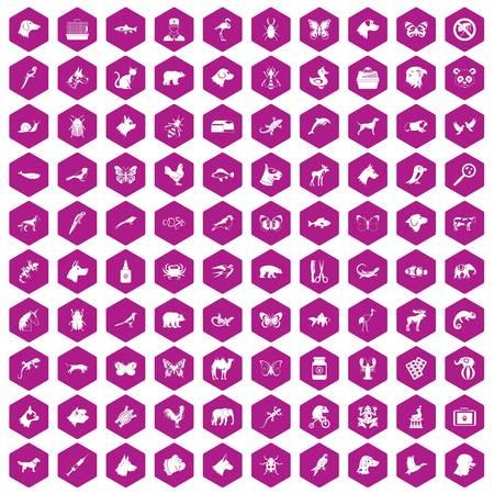 Unicorn fish: 100 animals icons hexagon violet Illustration