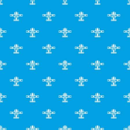 Ski equipped airplane pattern seamless blue