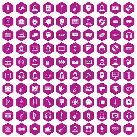 100 audience icons hexagon violet Illustration