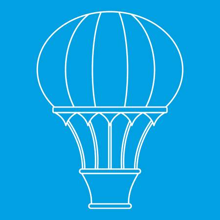 Hot air balloon with basket icon, outline style