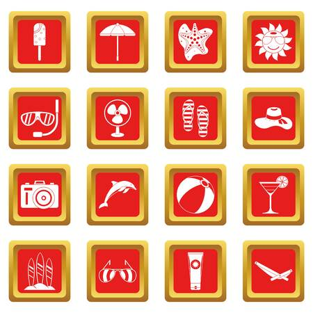 ice: Summer rest icons set red Illustration