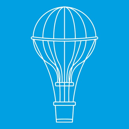 Aerostat balloon icon blue outline style isolated vector illustration. Thin line sign Illustration