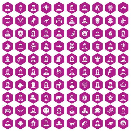100 avatar icons set in violet hexagon isolated vector illustration