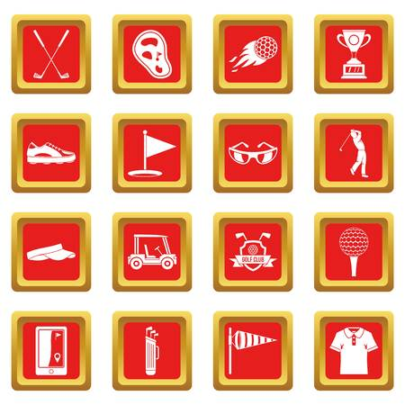 hole: Golf items icons set in red color isolated vector illustration for web and any design