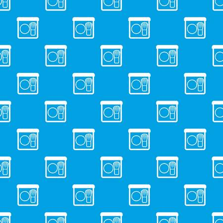 Rouge with brush pattern repeat seamless in blue color for any design. Vector geometric illustration