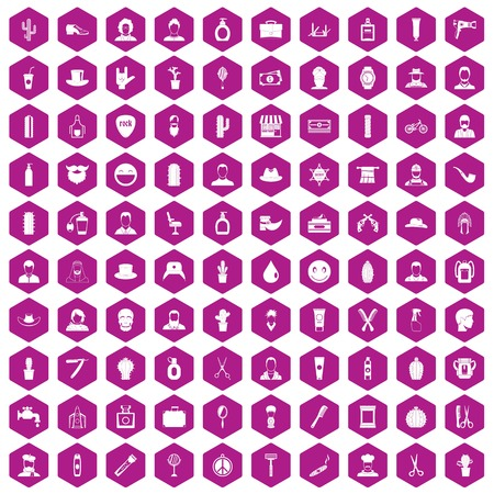 100 barber icons set in violet hexagon isolated vector illustration