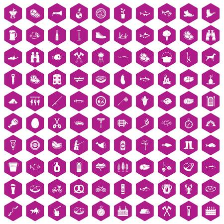 bbq barrel: 100 BBQ icons set in violet hexagon isolated vector illustration