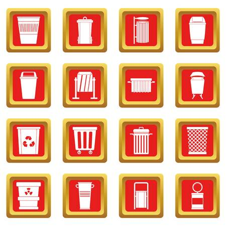 Garbage container icons set in red color isolated vector illustration for web and any design Illustration