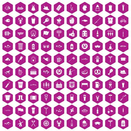 100 beer icons set in violet hexagon isolated vector illustration Imagens - 83919639