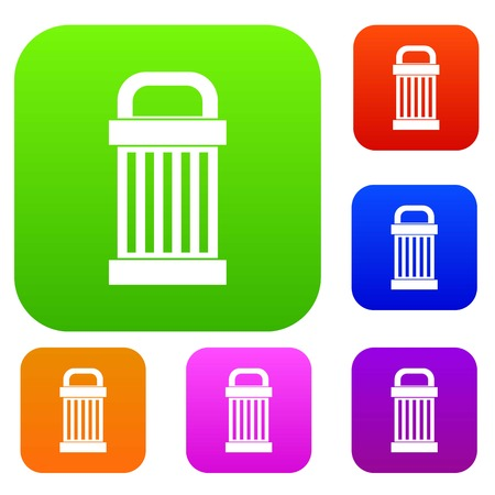 refuse: Trash set icon in different colors isolated vector illustration. Premium collection