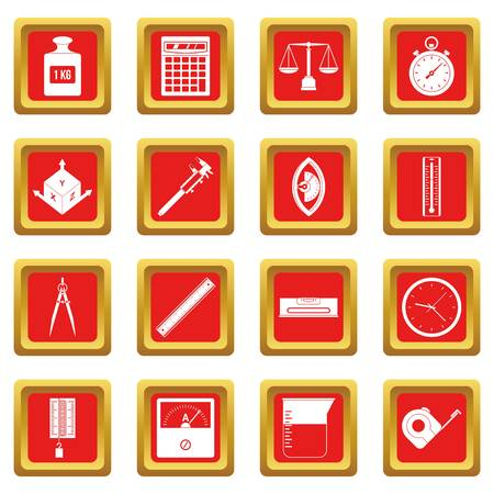 depth measurement: Measure precision icons set in red color isolated vector illustration for web and any design