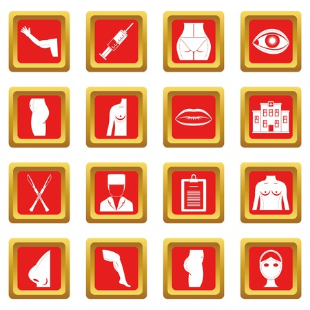 Plastic surgeon icons set in red color isolated vector illustration for web and any design
