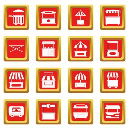 hot dog: Street food truck icons set in red color isolated vector illustration for web and any design Illustration