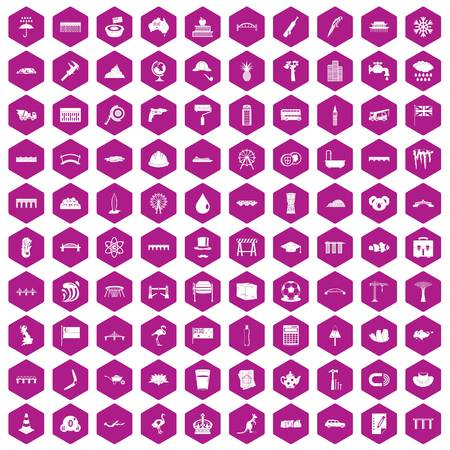 reviews: 100 bridge icons set in violet hexagon isolated vector illustration