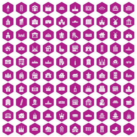 warehouse building: 100 building icons set in violet hexagon isolated vector illustration