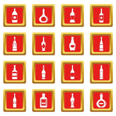 Bottle forms icons set in red color isolated vector illustration for web and any design