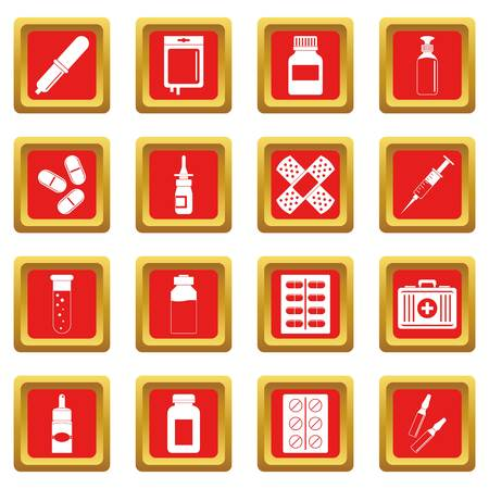 Different drugs icons set in red color isolated vector illustration for web and any design Çizim