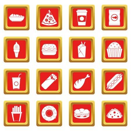 Los iconos de comida rápida en color rojo aislados ilustración vectorial para web y cualquier diseño Foto de archivo - 83919818