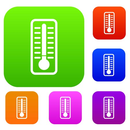 low scale: Cold thermometer set icon in different colors isolated vector illustration. Premium collection Illustration