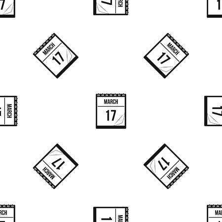 calendar icon: Calendar with the date of March 17 pattern repeat seamless in black color for any design. Vector geometric illustration