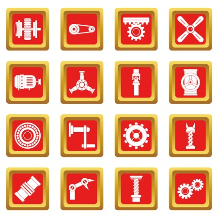 worm gear: Techno mechanisms kit icons set in red color isolated vector illustration for web and any design
