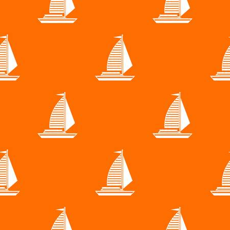 Yacht with sails pattern repeat seamless in orange color for any design. Vector geometric illustration Illustration