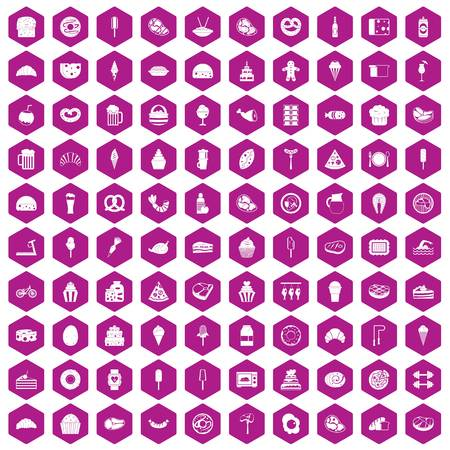 100 calories icons set in violet hexagon isolated vector illustration Illustration