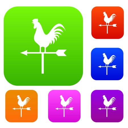 Weather vane with cock set icon in different colors isolated vector illustration. Premium collection