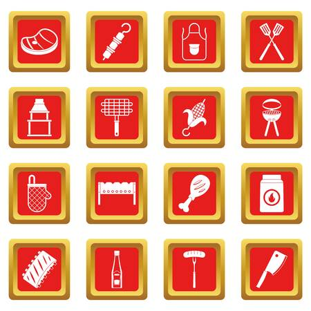BBQ food icons set in red color isolated vector illustration for web and any design