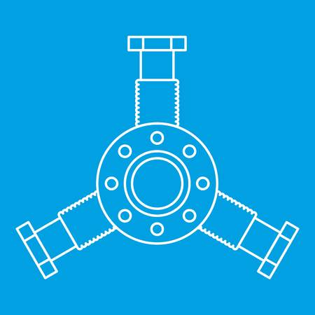 Round mechanic detail icon blue outline style isolated vector illustration. Thin line sign