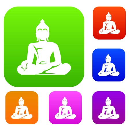 Statue of Buddha sitting in lotus pose set icon in different colors isolated vector illustration. Premium collection