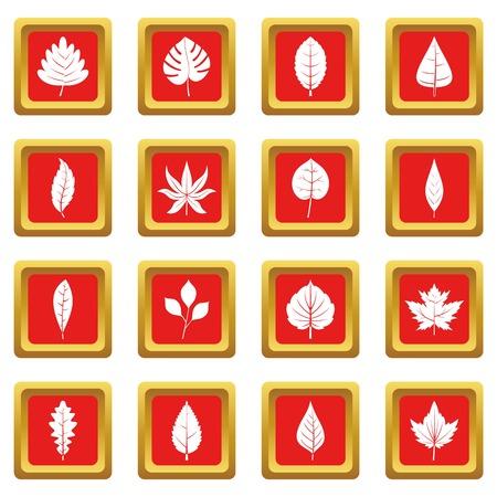 공장 붉은 색에 설정된 아이콘 leafs 웹 및 모든 디자인을위한 격리 된 벡터 일러스트 레이 션