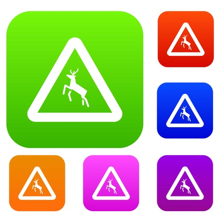 beware: Deer traffic warning sign set icon in different colors isolated vector illustration. Premium collection